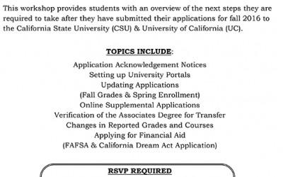 CSU & UC Transfer Application Workshops