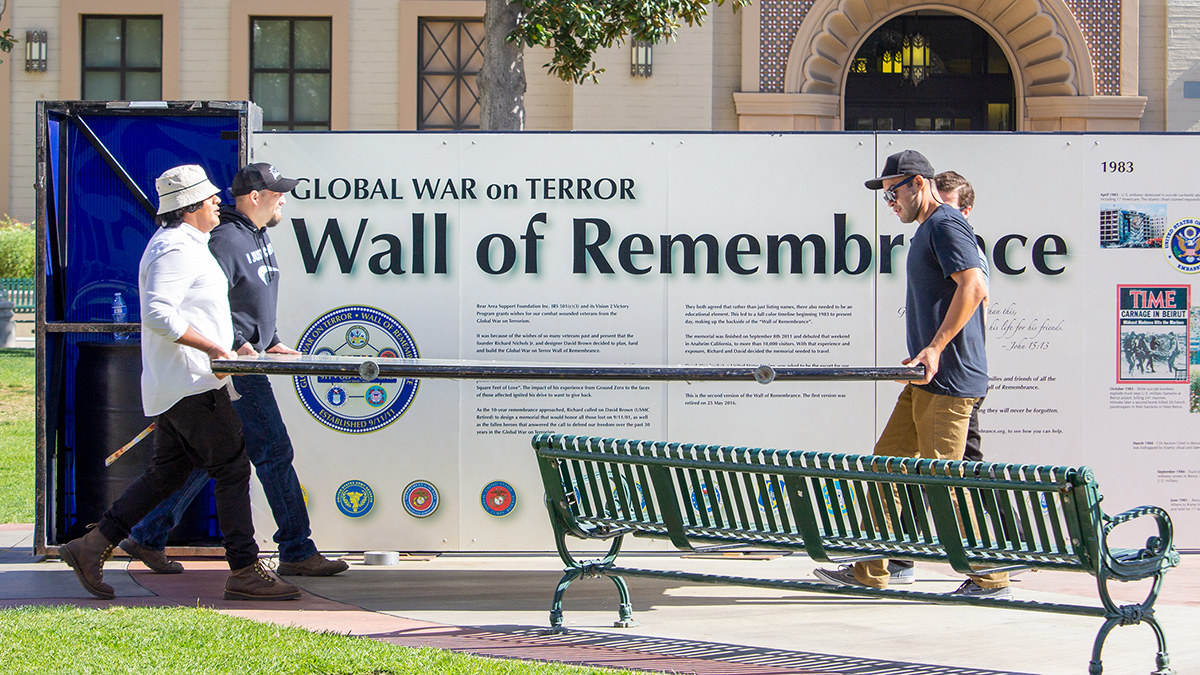 Setting up the Wall of Remembrance